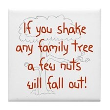 Shaking Family Tree (Red) Tile Coaster
