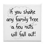 Shaking Family Tree (Black) Tile Coaster