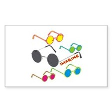 Imagine Glasses Colors Rectangle Decal