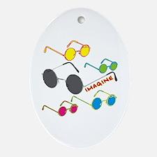 Imagine Glasses Colors Oval Ornament