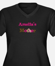 Amelia's Mother Women's Plus Size V-Neck Dark T-Sh