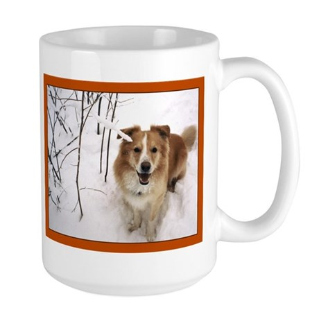 Pup in the Snow Large Mug