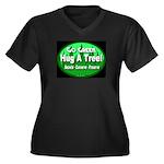Go Green Hug A Tree! Women's Plus Size V-Neck Dark