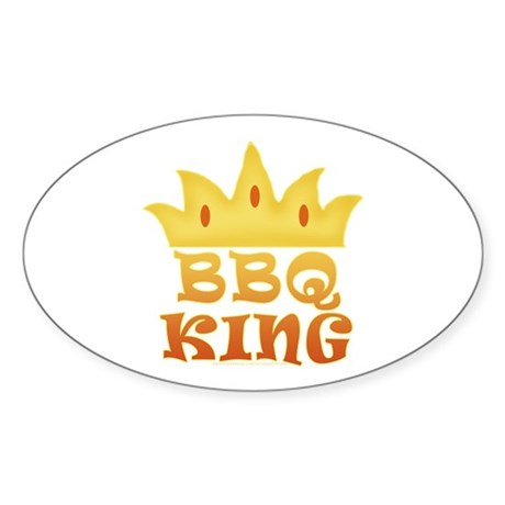 BBQ King Design Oval Sticker