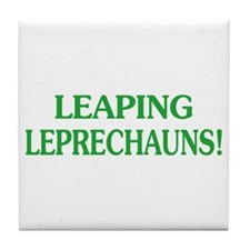 Funny Leaping Leprechauns Tile Coaster