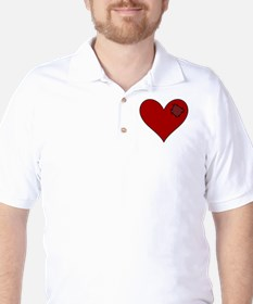 Patched Red Heart Golf Shirt