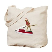 Sock Monkey Jet Ski Tote Bag