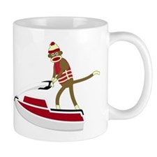 Sock Monkey Jet Ski Coffee Mug