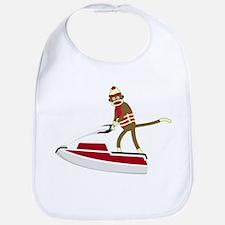 Sock Monkey Jet Ski Baby Bib