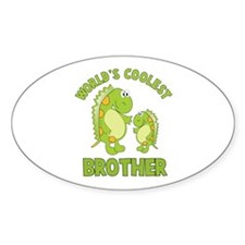 world's coolest brother dino Oval Decal