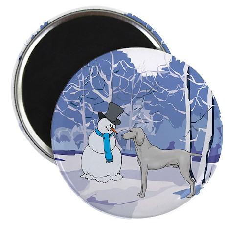 """Snowman & Weimaraner 2.25"""" Magnet (10 pack)"""