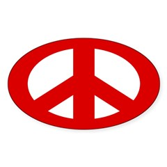 Red Peace Sign (oval bumper sticker)