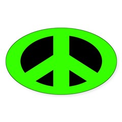 Green on Black Peace Sign Decal