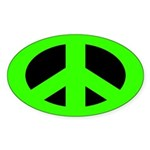 Green on Black Peace Sign Sticker