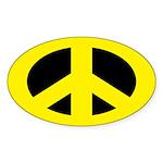Yellow on Black Peace Sign Sticker