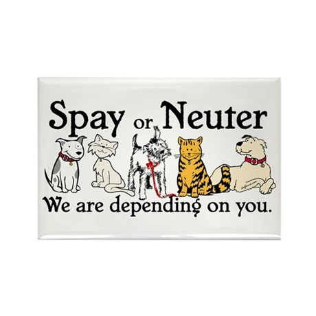 Spay or Neuter - Depending On You Rectangle Magnet