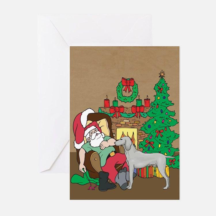 Santa Has A Weimaraner Christmas Greeting Cards (P
