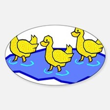 DUCKS IN WATER Oval Decal