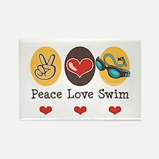 Peace Love Swim Swimmer Rectangle Magnet