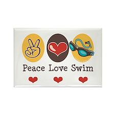 Peace Love Swim Swimmer Rectangle Magnet (100 pack