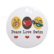 Peace Love Swim Swimmer Ornament (Round)