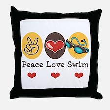 Peace Love Swim Swimmer Throw Pillow