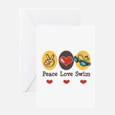 Peace Love Swim Swimmer Greeting Card