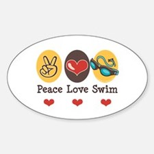 Peace Love Swim Swimmer Oval Decal