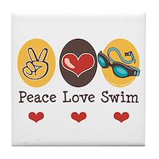 Peace Love Swim Swimmer Tile Coaster