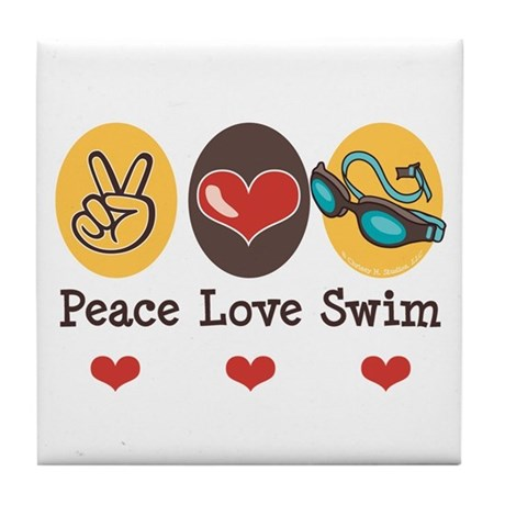Peace Love Swim Swimmer Tile Coaster
