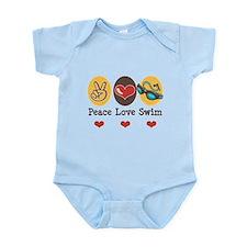 Peace Love Swim Swimmer Infant Bodysuit