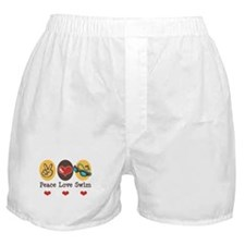 Peace Love Swim Swimmer Boxer Shorts