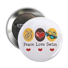 """Peace Love Swim Swimmer 2.25"""" Button"""