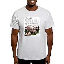 I Like Pigs (Churchill) Ash Grey T-Shirt