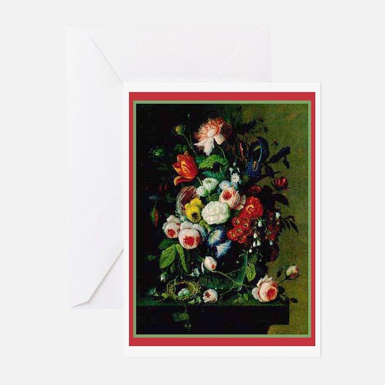 Antique Look Flower Bouquet Note Cards 10 pk