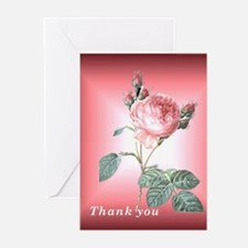 Thank You Cards with Pink Redoute Rose Pk of 10
