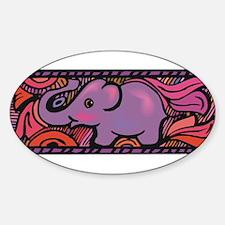 PURPLE ELEPHANT Oval Decal