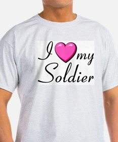 I love with heart my soldier Ash Grey T-Shirt