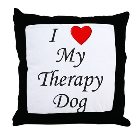 I Love My Therapy Dog Throw Pillow