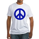 Blue Peace Sign Fitted T-Shirt