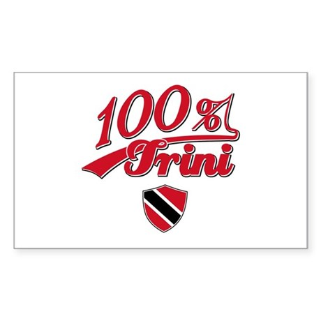 100% Trini Rectangle Sticker