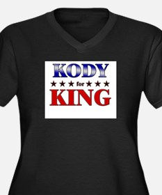 KODY for king Women's Plus Size V-Neck Dark T-Shir
