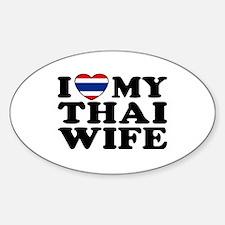 I Love My Thai Wife Oval Decal