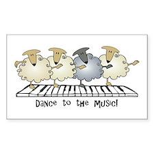 Sheep Chorus Line Rectangle Decal