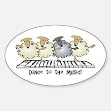 Sheep Chorus Line Oval Decal