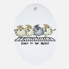 Sheep Chorus Line Oval Ornament