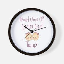 Proud Oma Girl Twins Wall Clock