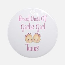 Proud Oma Girl Twins Ornament (Round)