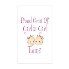 Proud Oma Girl Twins Rectangle Decal