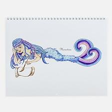 Merartsea painting blue & purple Wall Calendar